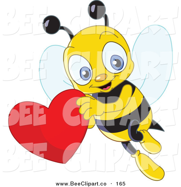 Vector Clip Art of a Cute Yellow Bee Flying with a Red Heart