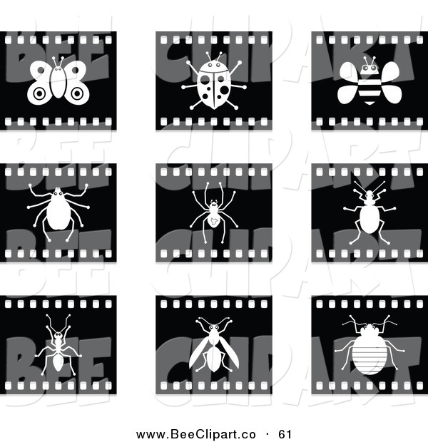 Vector Clip Art of a Digital Collage of Nine Black and White Film Strip Insect Buttons