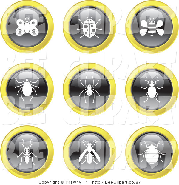 Vector Clip Art of a Digital Collage of Nine Black, White and Yellow Insect Icons