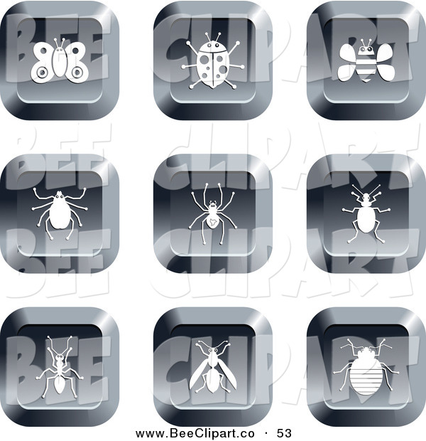 Vector Clip Art of a Digital Collage of Nine Square Chrome Insect Buttons
