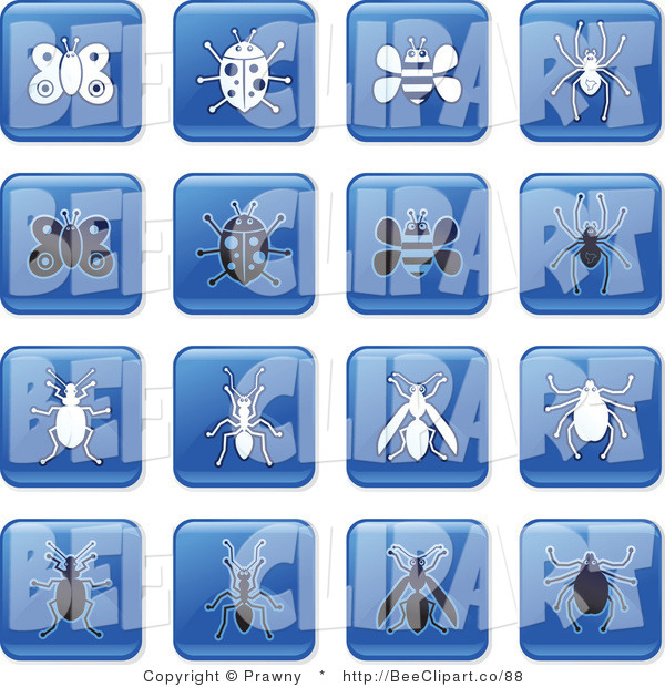 Vector Clip Art of a Digital Collage of Square Blue, Black and White Insect Tiles