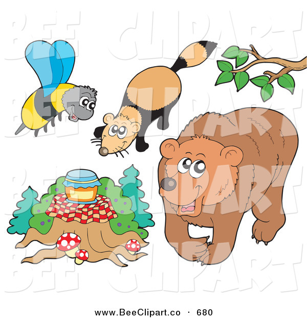 Vector Clip Art of a Digital Group of a Bee with Honey, Mink and Bear