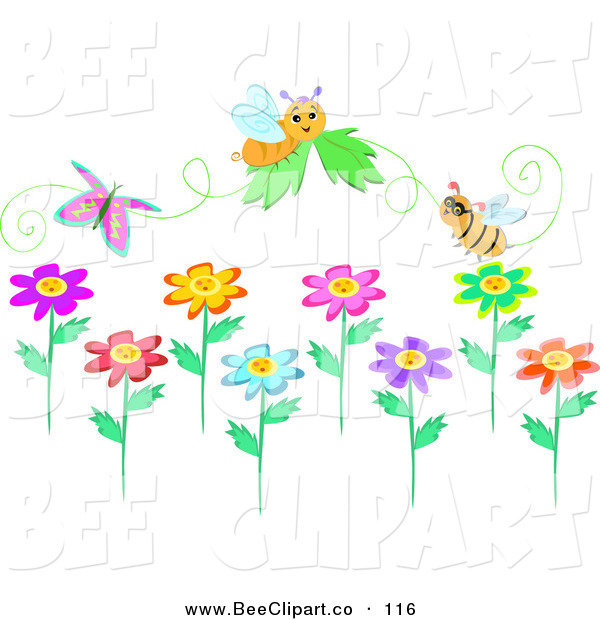 Vector Clip Art of a Digital Set of Bees, a Butterfly and Flower