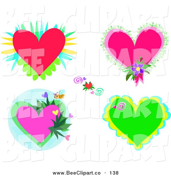 Vector Clip Art of a Digital Set of Flowers, Bees and Hearts