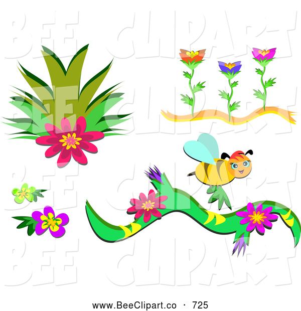 Vector Clip Art of a Digital Set of Plants, Flowers and a Bee