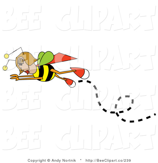 Vector Clip Art of a Female Bee in Flight, Flying Left