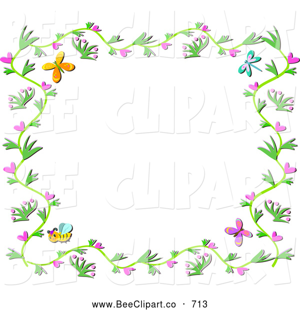 Vector Clip Art of a Floral Vine Border with Hearts, Bees and Butterflies on White