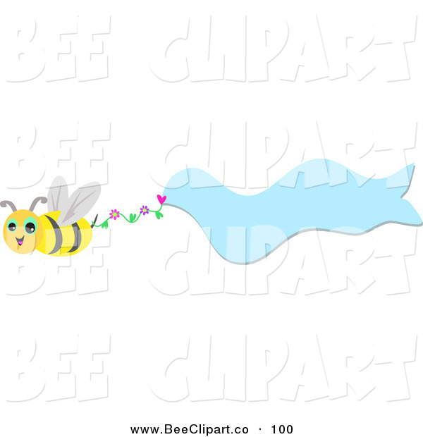 Vector Clip Art of a Friendly Bee Flying with a Wavy Blue Banner