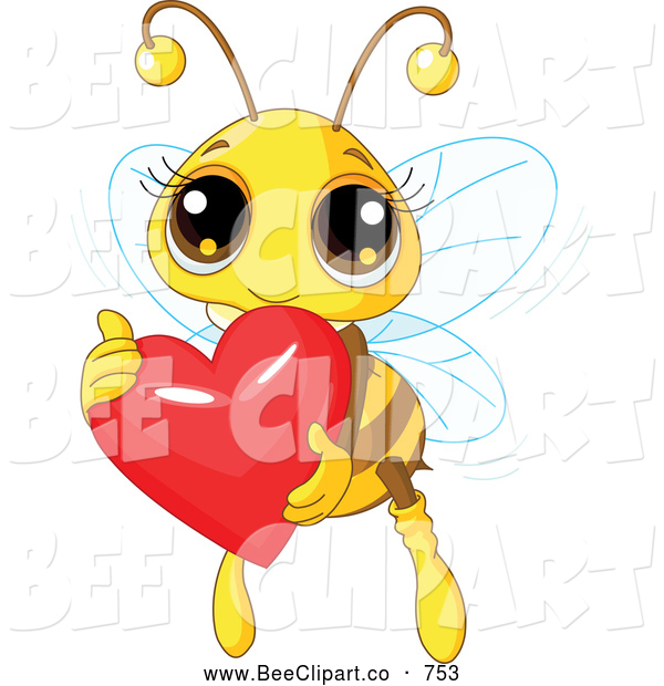 Vector Clip Art of a Friendly Cute Bee Holding a Shiny Red Heart