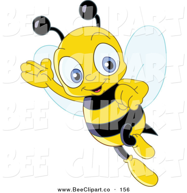 Vector Clip Art of a Friendly Cute Yellow Bee Waving and Flying