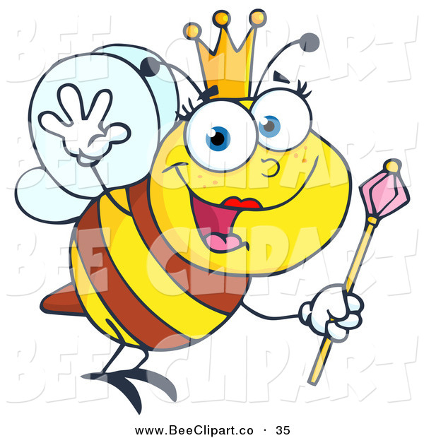 Vector Clip Art of a Friendly Queen Bee Flying Right