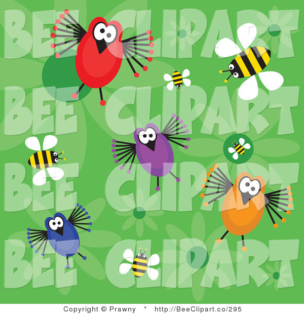 Vector Clip Art of a Green Background of Four Funny Birds, Bees and Flowers
