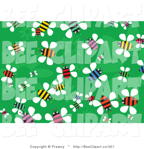 Vector Clip Art of a Green Floral Background of Colorful Busy Buzzing Bees