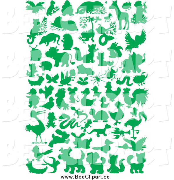 Vector Clip Art of a Green Silhouetted Bee and Other Animals