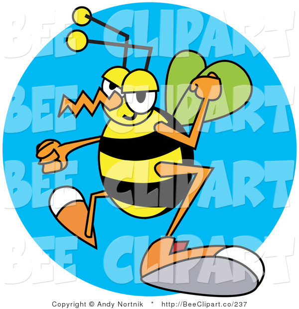 Vector Clip Art of a Grumpy Yellow Wasp with Clenched Fists