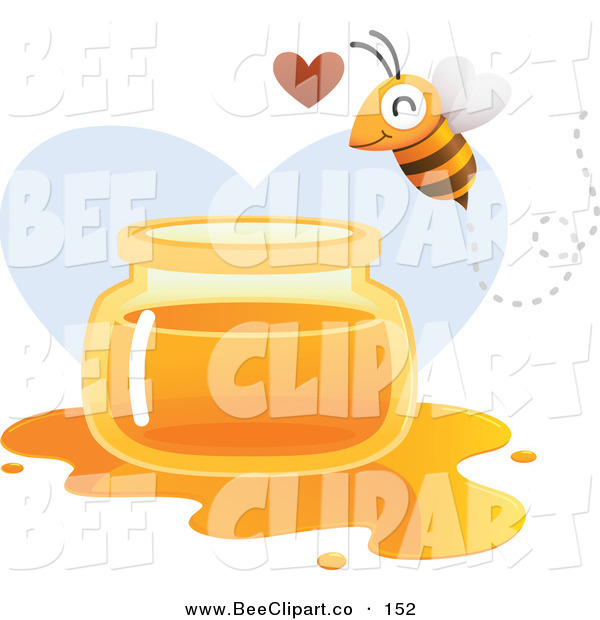 Vector Clip Art of a Happy Bee Flying over a Spilled Jar of Honey over a Heart