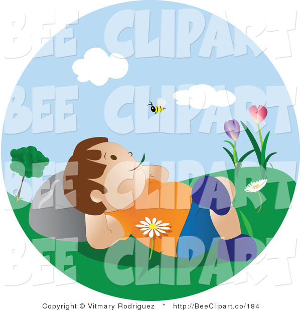 Vector Clip Art of a Happy Boy Relaxing Outside Watching a Bee