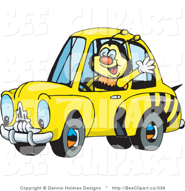 Vector Clip Art of a Happy Bumble Bee Character Waving While Driving by in a Matching Car