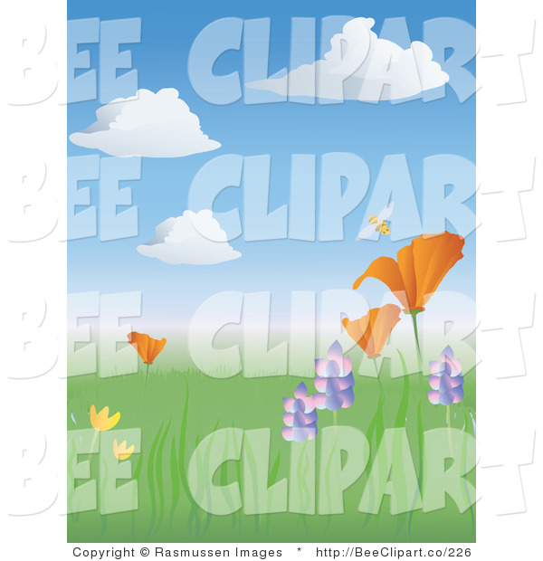 Vector Clip Art of a Happy Bumble Honey Bee Buzzing Above a California Poppy in a Meadow of Wildflowers in Springtime
