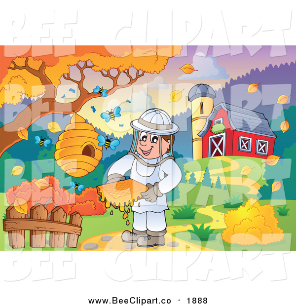 Vector Clip Art of a Happy Male Bee Keeper by a Barn in Autumn
