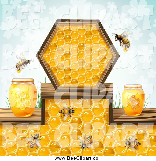 Vector Clip Art of a Honey Bees and Jars over a Pattern of Blue Clovers