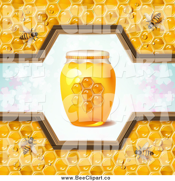 Vector Clip Art of a Honey Bees with a Jar and Pattern of Clovers