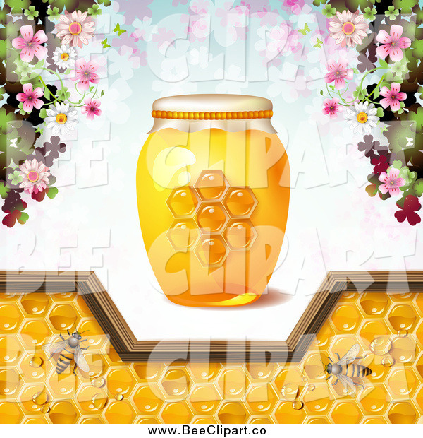 Vector Clip Art of a Honey Bees with Flowers, a Jar and Pattern of Clovers