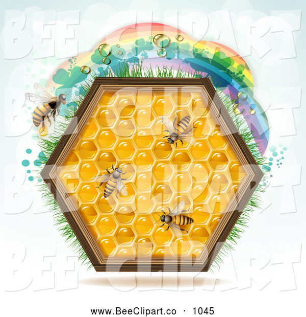 Vector Clip Art of a Honey Comb Hexagon with Bees and a Rainbow on Blue