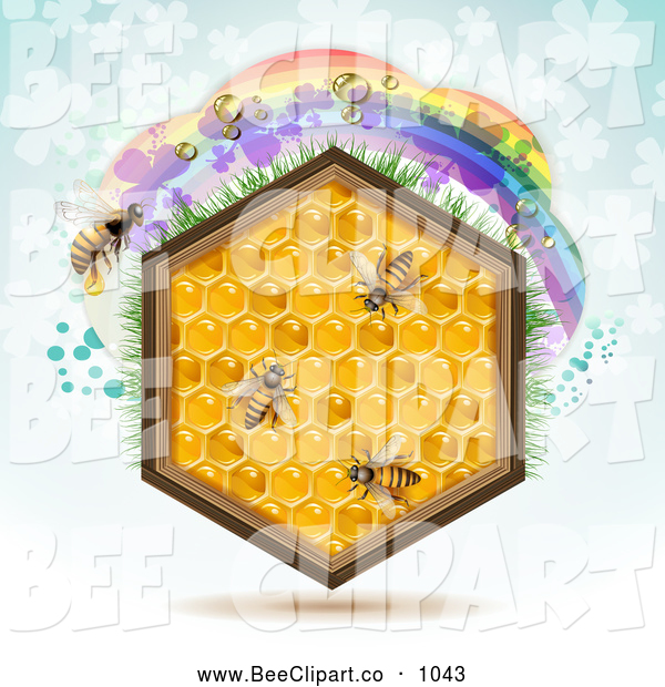 Vector Clip Art of a Honeycomb Hexagon with Bees and a Rainbow on Blue