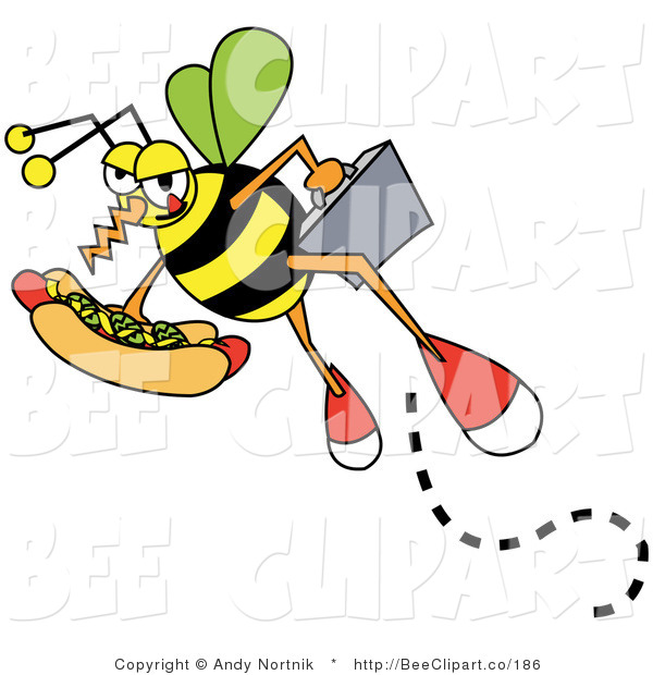 Vector Clip Art of a Hungry Business Bee Carrying a Briefcase and a Hotdog with Mustard and Relish