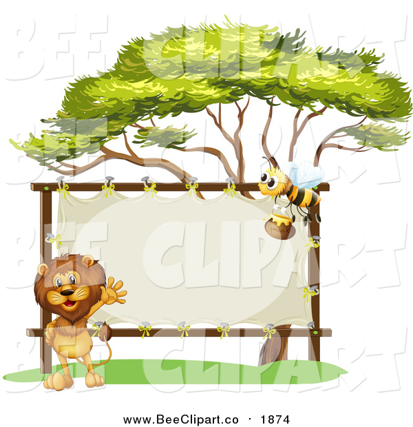 Vector Clip Art of a Male Lion and Bee with a Stretched Sign