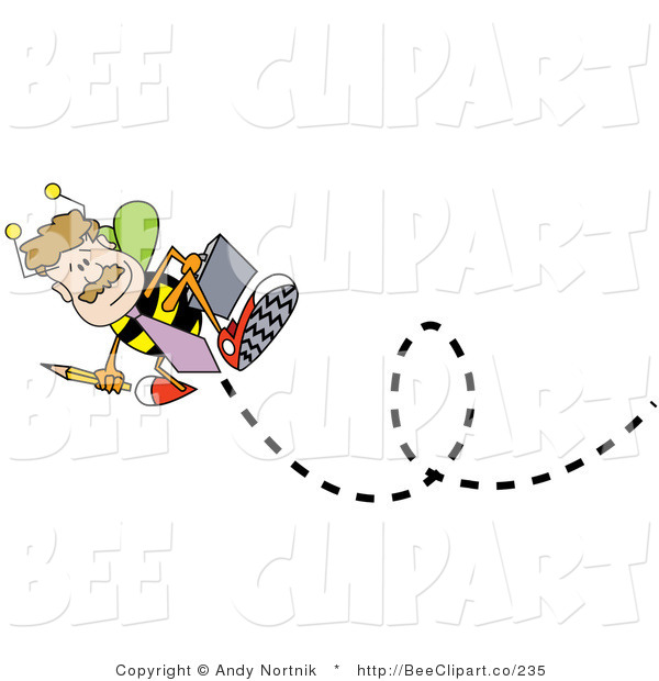 Vector Clip Art of a Male Worker Bee Flying Away with a Briefcase, off to Work