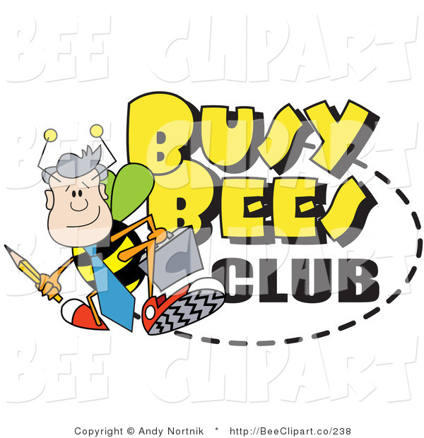 Vector Clip Art of a Male Worker Drone Bee with a Pencil and Briefcase on a Busy Bees Club Sign