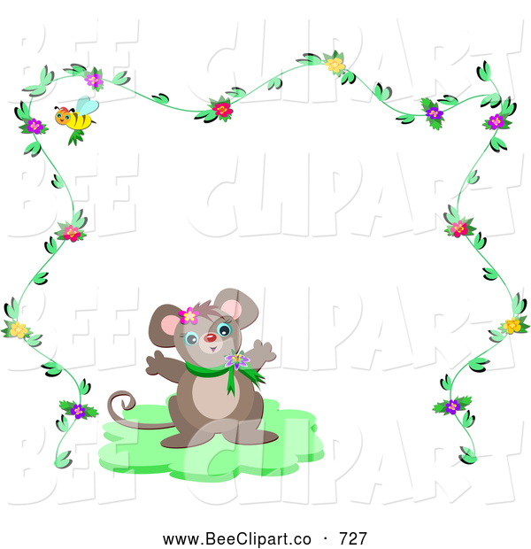 Vector Clip Art of a Mouse Centered Within a Floral Frame