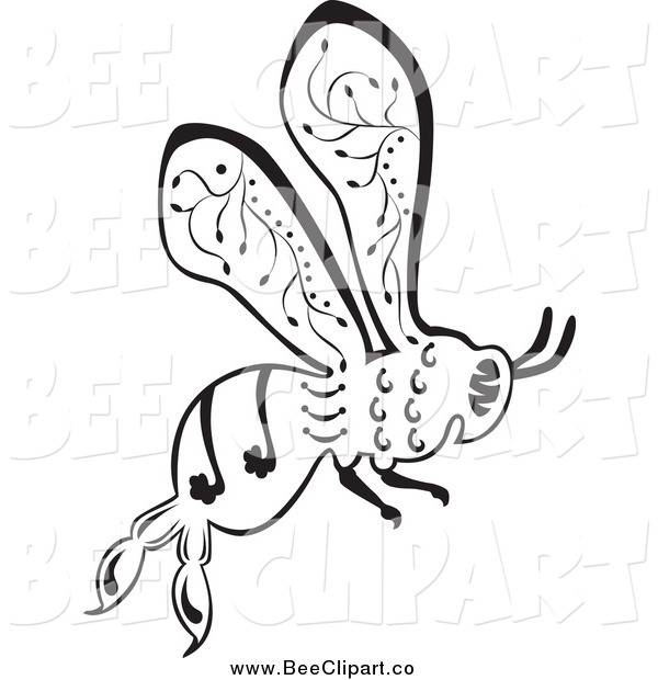 Vector Clip Art of a Ornate Black and White Bee Flying