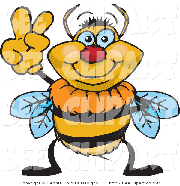 Vector Clip Art of a Peaceful Bee Gesturing