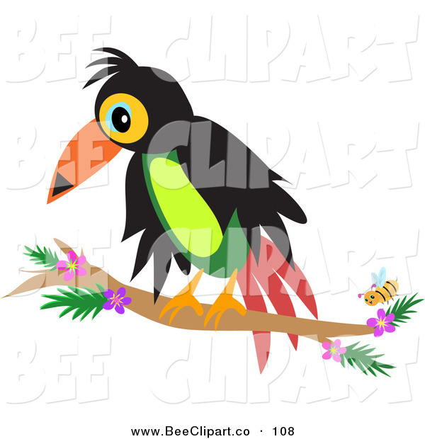 Vector Clip Art of a Perched Toucan by a Yellow BeePerched Toucan by a Yellow Bee