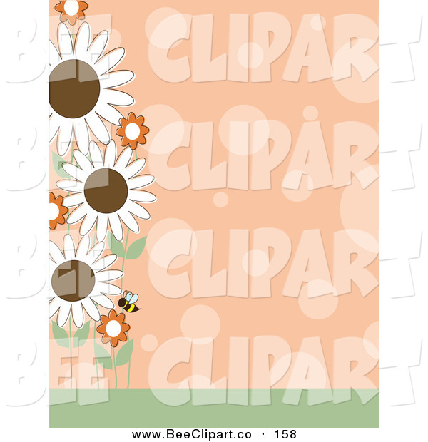Vector Clip Art of a Pretty Orange Polka Dot Background with a Left Border of a Bee and Flowers