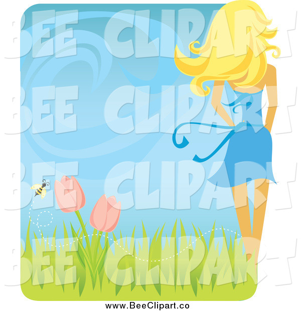 Vector Clip Art of a Rear View of a White Blond Woman with a Spring Breeze Tulips and Bee