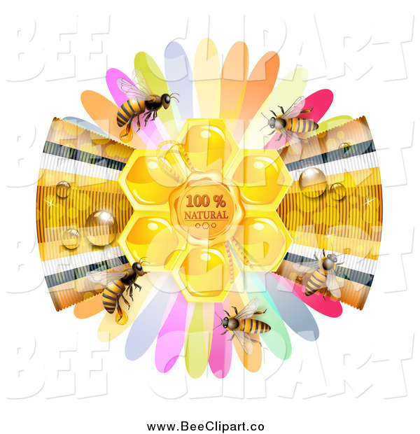 Vector Clip Art of a Ribbon and Petals with Bees