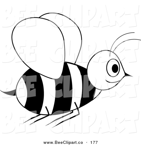 Vector Clip Art of a Smiling Black and White Wasp in Flight
