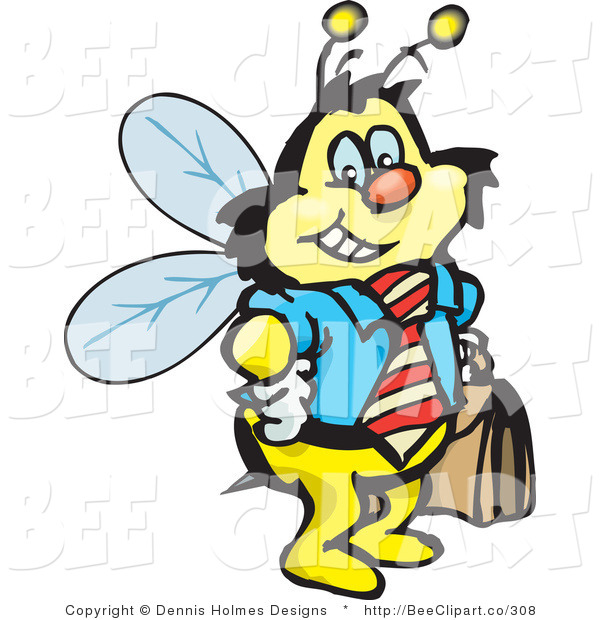 Vector Clip Art of a Smiling Honey Bee Character Businessman Carrying a Briefcase