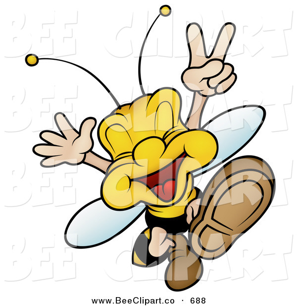 Vector Clip Art of a Smiling Peaceful Wasp Jumping and Gesturing