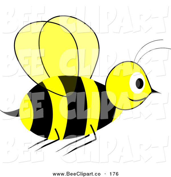Vector Clip Art of a Smiling Yellow and Black Wasp in Flight