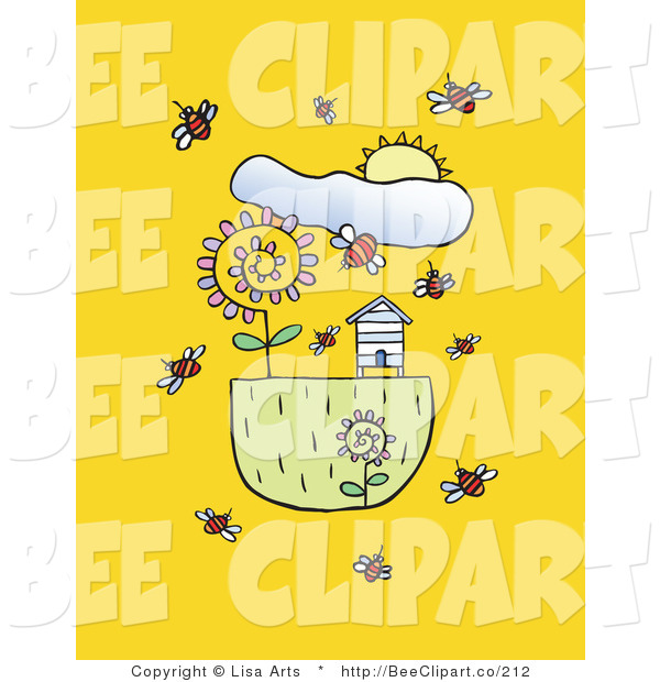 Vector Clip Art of a Spring Sun over Bees Flying Around Flowers and a Bee House