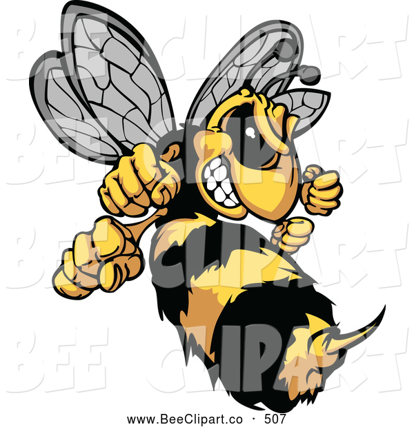 Vector Clip Art of a Stinging Mad Hornet Mascot