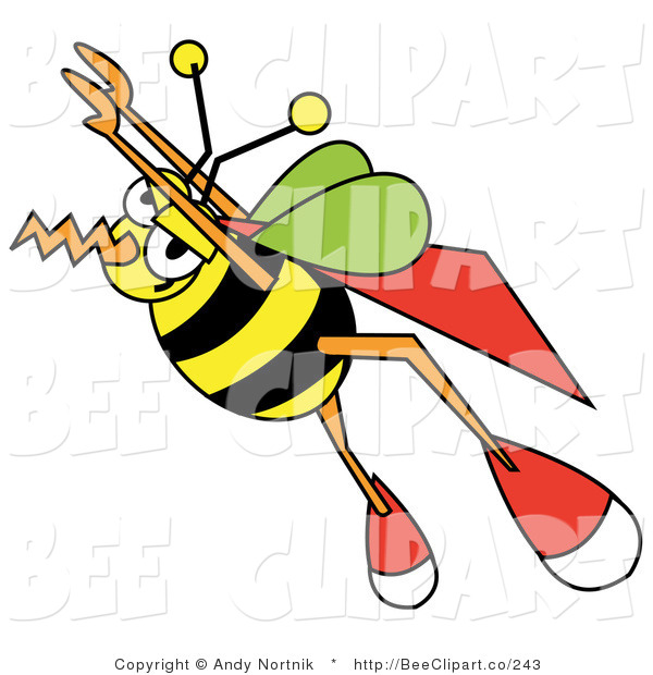 Vector Clip Art of a Super Bumblebee with a Cape, Flying Upwards