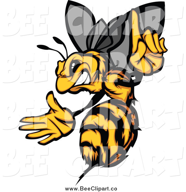 Vector Clip Art of a Tough Stinging Bee Holding a Finger up