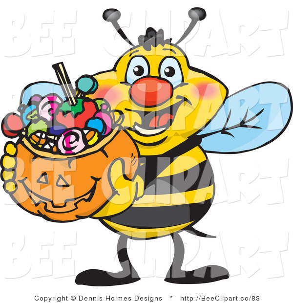 Vector Clip Art of a Trick or Treating Yellow and Black Honey Bee Holding a Pumpkin Basket Full of Halloween Candy