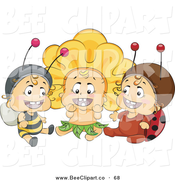 Vector Clip Art of a Trio of Happy Babies in Bee, Flower and Ladybug Costumes